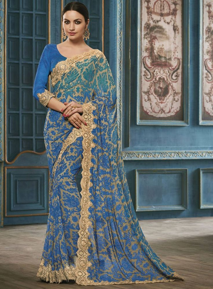 Blue Georgette Printed Saree With Blouse 87036