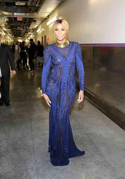 tamar braxton 2014 soul train awards roberto cavalli blue embellished sheer dress
