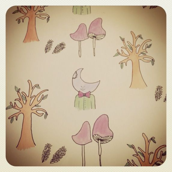 Wallpaper design By Alissia Quinn inspired by the magical far away tree.