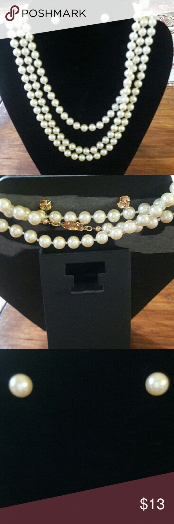 Strand of pearls and matching earrings This is a strand of pearls that measures 56 inches long and as you can see by the pictures, can be tripled. The earrings have the same size pearl as the necklace.  A very pretty set. Avon Jewelry Necklaces
