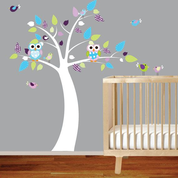 Nursery Owl Wall Decal Tree Vinyl Sticker with by wallartdesign, $89.00