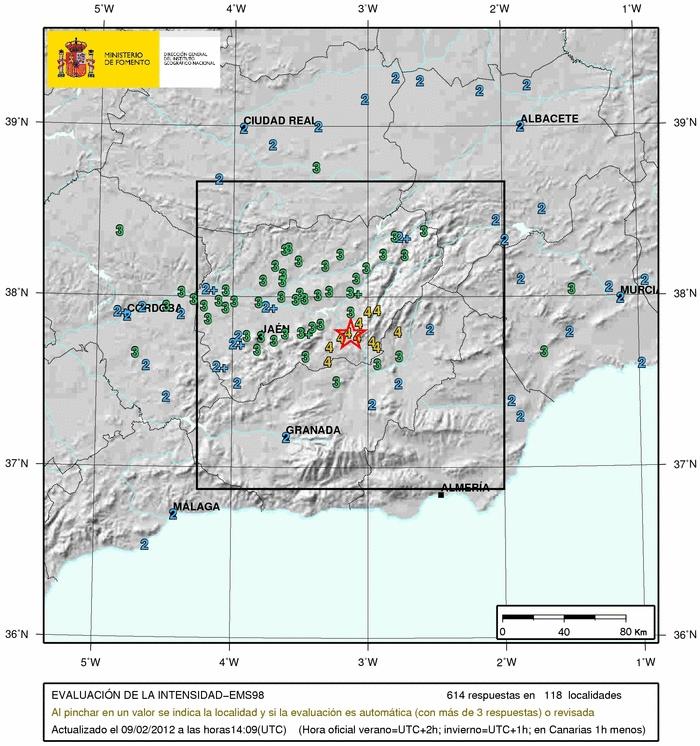 Terremotos en España en 2012. El mayor seísmo producido en la península Ibérica tuvo lugar en la provincia de Jaén y se sintió en varias Comunidades Autónomas.