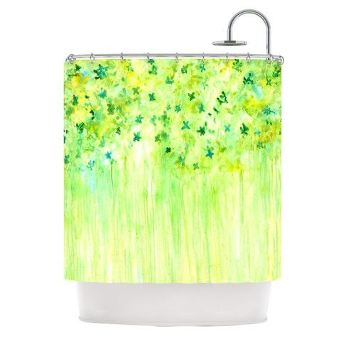 """Rosie Brown """"April Showers"""" Lime Green Shower Curtain 