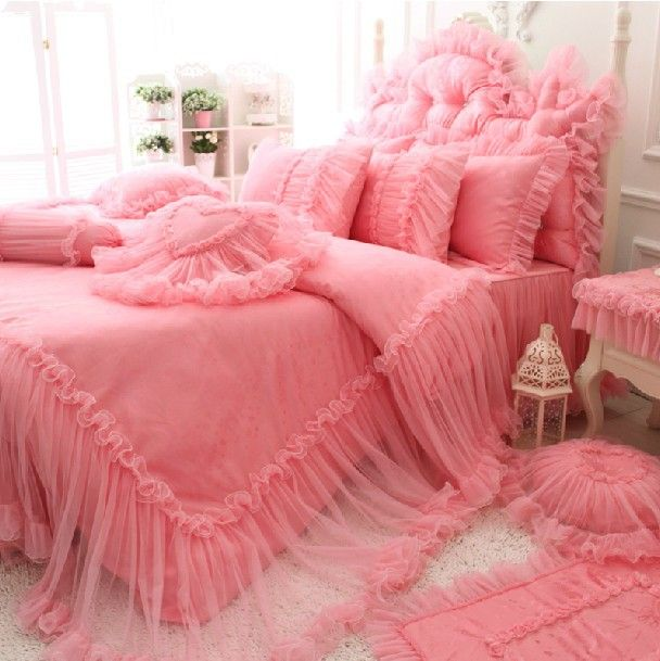 Find More Bedding Sets Information about Pink romantic lace wed bed sets,4pc girl full queen king luxury princess ruffle bedclothes bedskirt pillow case comforter cover,High Quality case notebook,China bed case Suppliers, Cheap bed pillow case from secret garden201307 on Aliexpress.com