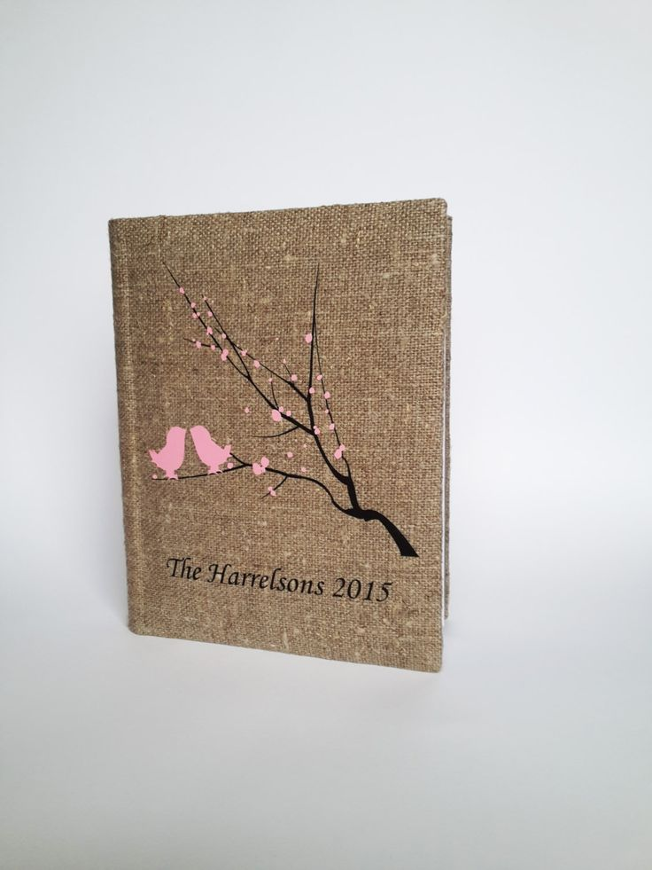 Wedding rustic  photo album burlap Linen Bridal shower anniversary Pink birds and blossoms on brunch by pastinshs on Etsy