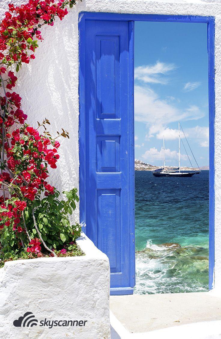 Porta típica das ilhas gregas, essa é em Mykonos.