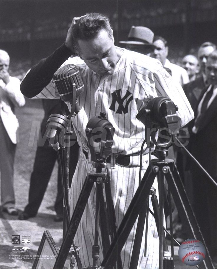 """Lou Gehrig ~ """"Henry Louis Gehrig (June 19, 1903 – June 2, 1941) was an American baseball first baseman who played 17 seasons in Major League Baseball for the New York Yankees (1923–1939). Gehrig set several major league records, including most career grand slams (23) and most consecutive games played (2,130). Gehrig is chiefly remembered for his prowess as a hitter and his durability, a trait which earned him his nickname 'The Iron Horse,' as well as the pathos of his farewell from…"""