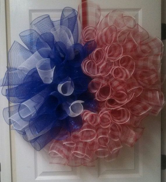 Curly patriotic mesh ribbon wreath by DecorableByBeverlee on Etsy, $50.00