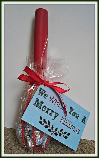 Easy and Inexpensive DIY Christmas Gift Idea + Free Printable - 1 bag Hershey's Kisses 1 whisk   Piece of ribbon Clear cellophane  Package tie-on (Free download)