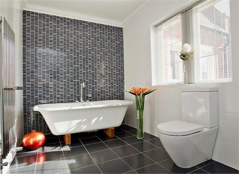 Zen Spa Bathroom With Slate Grey Tile Feature Wall Rooms