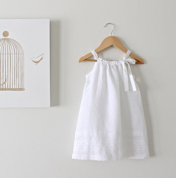 Toddler Girls White Linen and Lace Dress-Baby Baptism Dress-Beach Photo-Eco…