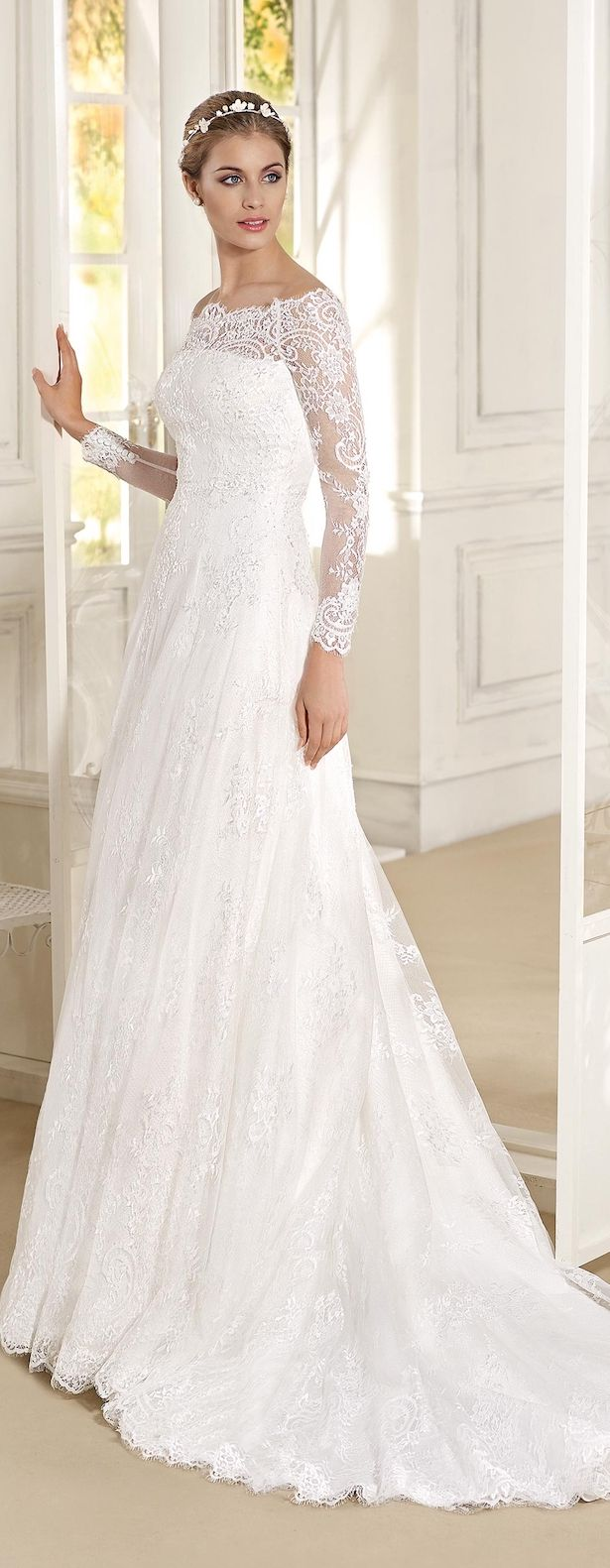 Long sleeve Lace off the shoulder Wedding Dress by Fara Sposa 2017 Bridal Collection Designer: Fara Sposa SEE POST SEE GALLERY