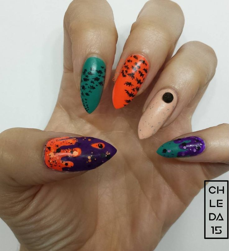 Thumb w/ purple base w/ orange drips & matte orange ...