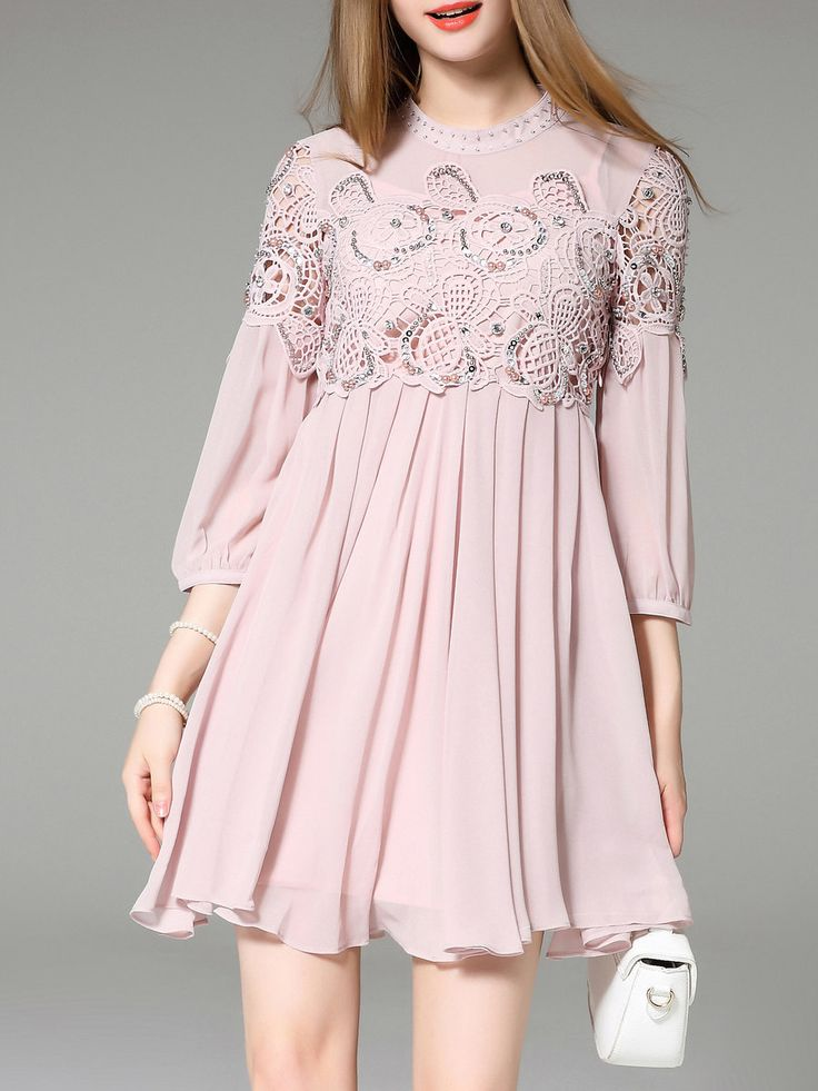 Pink Pierced 3/4 Sleeve Crew Neck Mini Dress - StyleWe.com