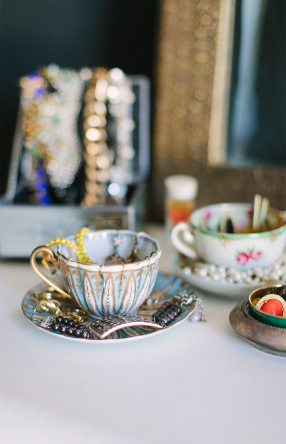 @Alaina Marie Kaczmarski Chicago Apartment Tour // bedroom // teacups to hold jewelry // photography by Stoffer Photography
