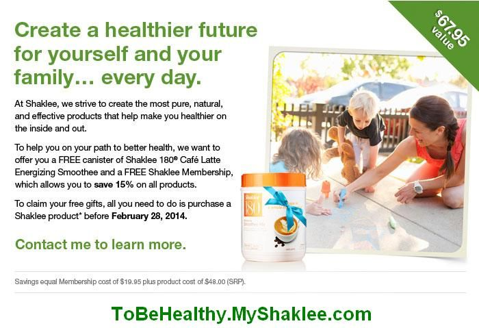 Get $67.95 worth of FREE Stuff!  http://tobehealthy.myshaklee.com/