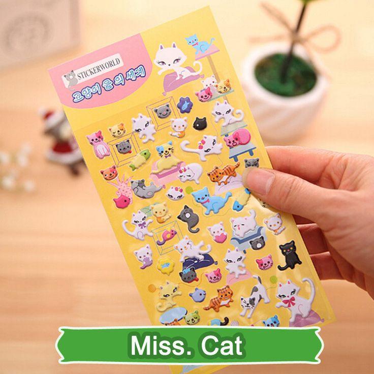 SST* 1 Sheet ' Miss. cat ' Cartoon Cute Kawaii 3D Bubble Stickers Scrapbooking Sticker Creative Stationery Kindergarten Gift +