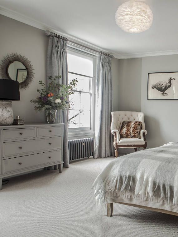 Bedroom Decor Ideas   All Grey Neutral Color Pallet, Transitional Bedroom  In Eclectic Georgian Townhouse