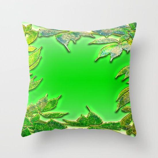 Листья зеленые подушки Throw