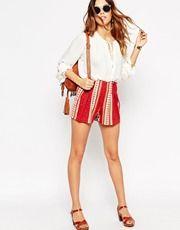 Falda pantalón con pliegues y estampado de cachemir anaranjado de ASOS