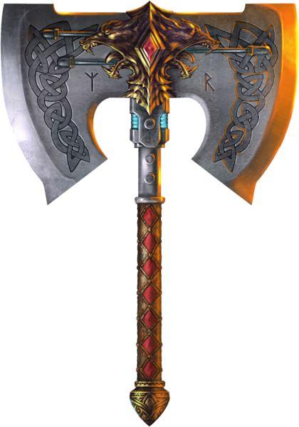 Nome: Matador de dragões   Descrição: Esse machado te, bônus +4 contra qualquer tipo de dragão verdadeiro. Ele inflige dano triplo contra qualquer tipo de dragão ( isto é, 3d8+4 )