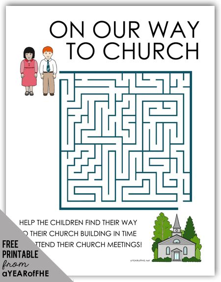 A Year of FHE // FREE maze activity page about church ...