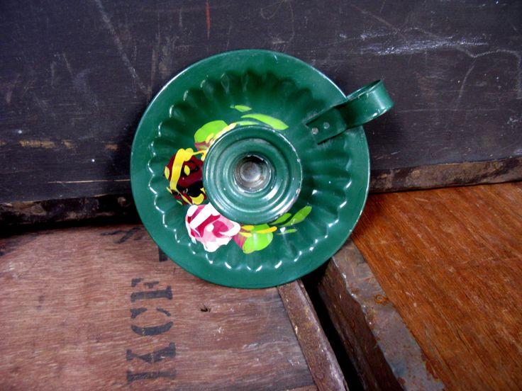 Green Candle Plate - Enamel Candle Plate - Enamel Candle Stick - Enamel Candle Holder - Candle Tray - Candle Plate - Vintage Candlestick by MissieMooVintageRoom on Etsy