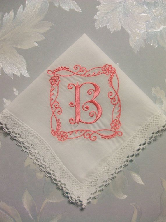 Custom embroidered letter initial monogram for bride