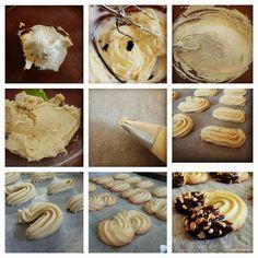 Biscotti viennesi,deliziosissimi dolcetti a base di pasta frolla montata e decorati con cioccolato fuso e granella di nocciole.