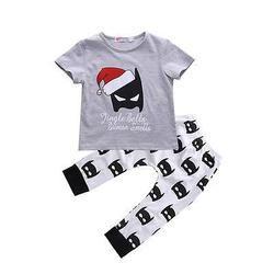 Christmas Halloween Baby Kids Boy Girls Christmas Outfits Batman T-shirt+Pants 2pcs baby clothing sets