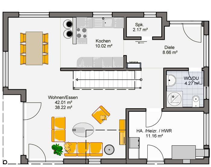 Grundriss Erdgeschoss Trento - Fertighaus - Büdenbender Hausbau