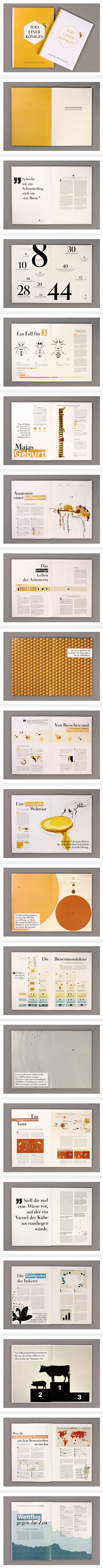 Good inspiration for the annual report project.  Information is displayed in different ways while keeping the whole cohesive.: