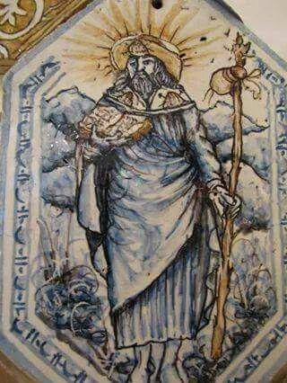 Santiago de Compostela, pellegrino, mattonella  in ceramica artistica siciliana Bluarte