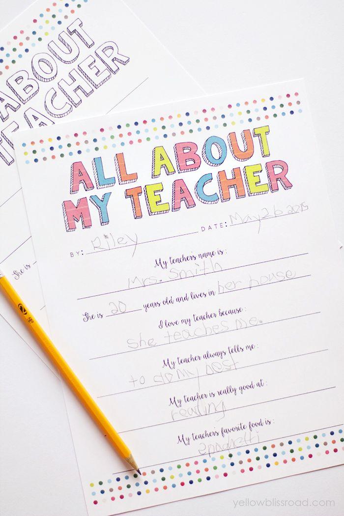 """All About My Teacher"" Free Printable ~ fun gift idea for teacher appreciation…"