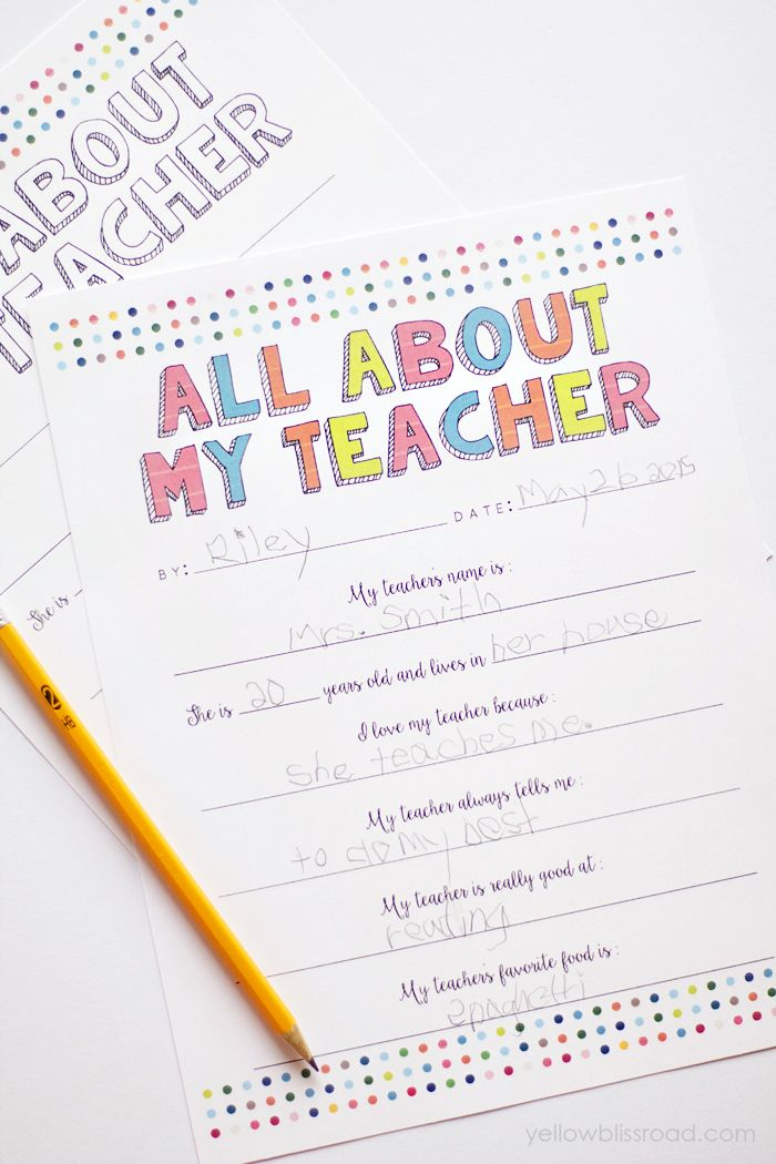 Free All About My Teacher Printable #247moms