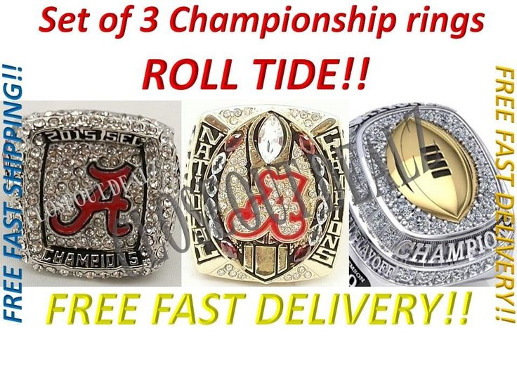 Full Set 3pc 2016 Alabama Crimson Tide College Championship Ring Sizes 7.5 - 14 CLO$EOUTDEALZ  Buy with confidence knowing we stand by our motto  Customer Satisfaction is our #1 priority!  Don't just take our word, please read our feedback and see what our customers have to say about us. If you want quality products, then buy from us.  Item DescriptionSET OF 3 ALABAMA CRIMSON TIDE NCAA FOOTBALL CHAMPIONSHIP RINGS  This is an absolute must have gift for any and all Alabama Crimson Tide…