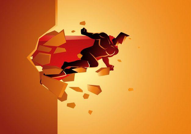 Superheroe Romper Muro De Hormigon Vecto Premium Vector Freepik Vector Hombre Dibujos Animados Comic Arte Muros Super Heroe Vector