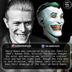 A fact I had in October 2016! Would you prefer Bowie to Nicholson? | Tag your friends! - - - - #joker #thejoker #villain #villains #supervillain #supervillains #clownprincessofcrime #davidbowie #batman #thebatman #thedarkknight #dccomics #comics #comicbook #comicbooks #facts #geek #instagood #picoftheday