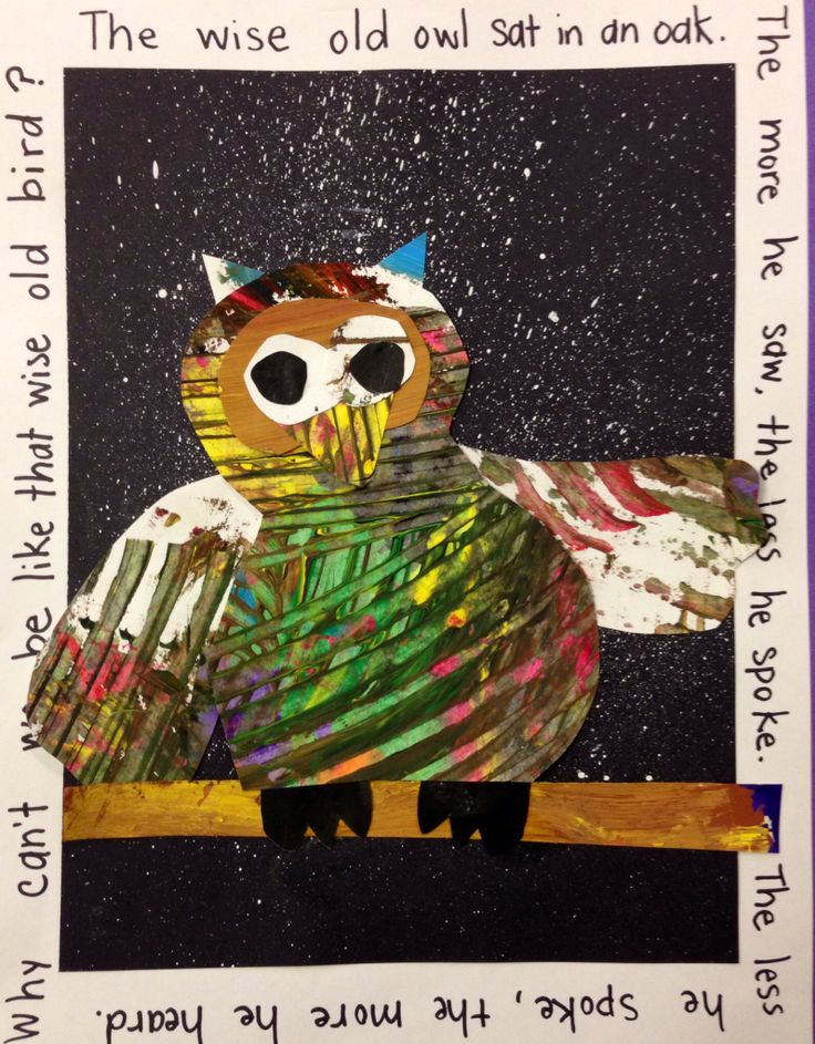 Painted paper owl collage with poetry border. Idea from Deep Space Sparkle.
