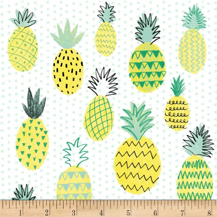 Summerlicious Pineapple White/Yellow Pineapple fabric