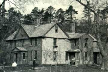 """Orchard House, Concord, MA  Postcard from 1874 showing A. Bronson Alcott, Mrs. Alcott and one of the """"Little Women"""""""