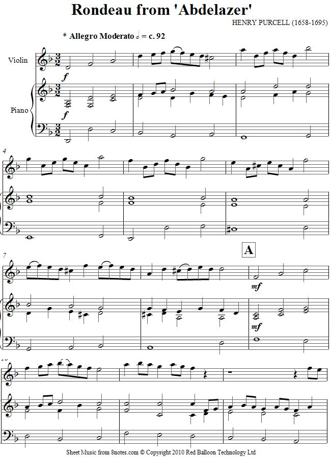 Purcell -  Rondeau from Abdelazer sheet music for Violin