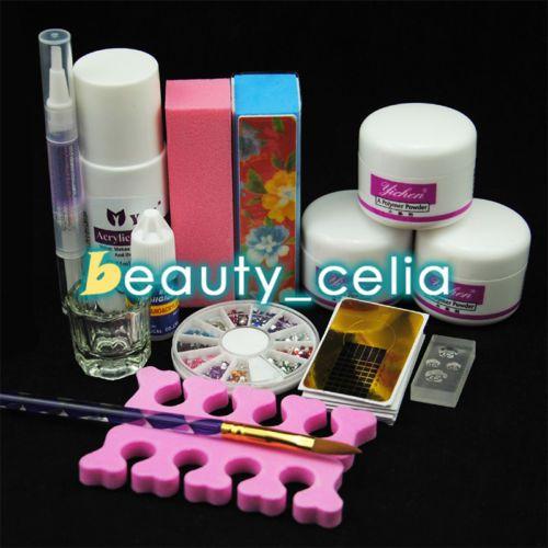 Pro-Nail-Art-Kit-Acrylic-Liquid-Powder-Pen-Dappen-Dish-Set-Tips-Forms-Deco-Tools