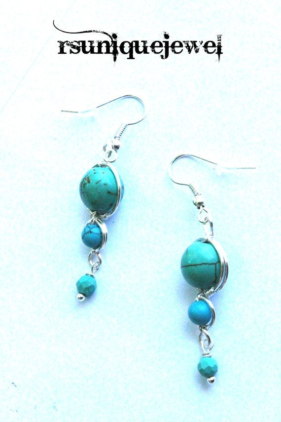 Wire Wrapped Blue Turquoise Earrings Dangle by rsuniquejewel