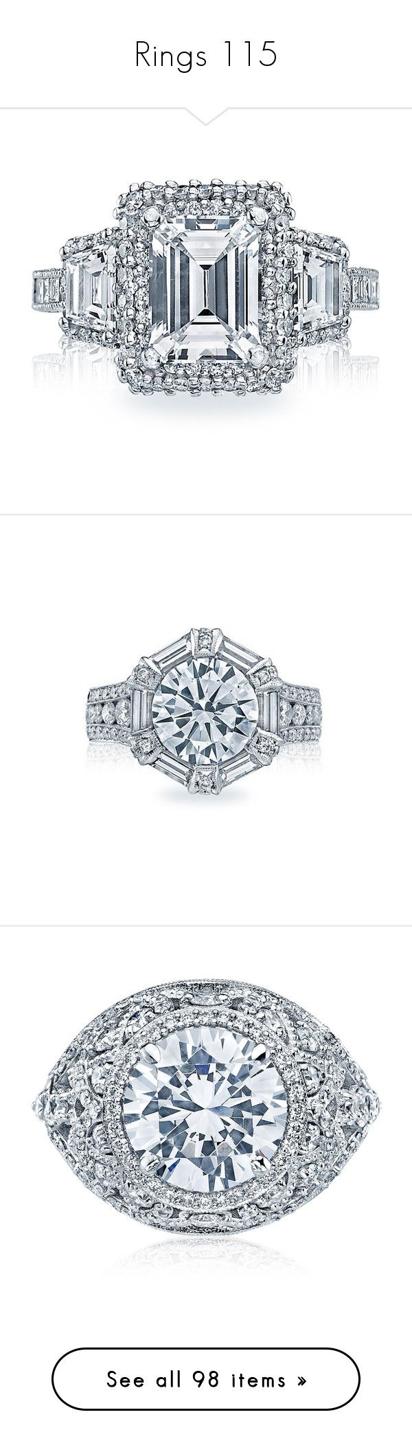 """""""Rings 115"""" by singlemom ❤ liked on Polyvore featuring jewelry, rings, channel setting ring, channel set ring, tacori rings, tacori jewelry, tacori, pave jewelry, twisted engagement ring and twist ring"""