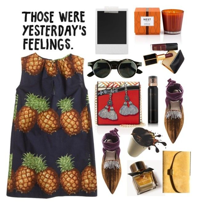 """Those were yesterdays feelings"" by lidia-solymosi ❤ liked on Polyvore featuring J.Crew, Polaroid, Rianna + Nina, Attico, Nest Fragrances, Tom Ford, Burberry, Garance Doré and Show Beauty"