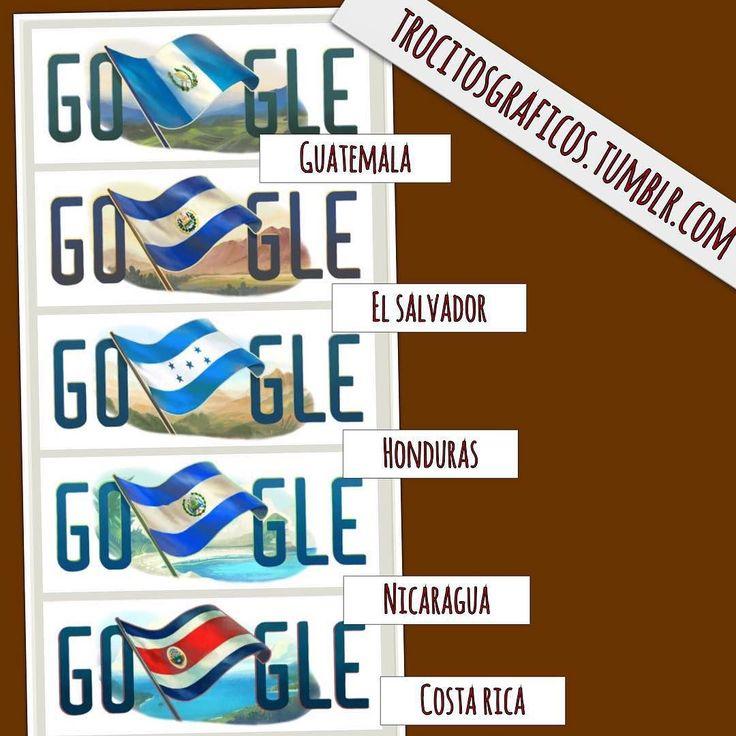 #instagramELE #indeendencia  Cinco países de Centroamérica celebran hoy su independencia. Gráfico del Tumblr de Zachary Jones. Es la respuesta a tu pregunta @yya2? Por cierto la gente de Nicaragua dice que Google se equivocó con su bandera. #SP101F15 #SP211F15