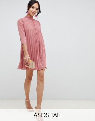 41a3a161da ASOS DESIGN Tall pleated trapeze mini dress
