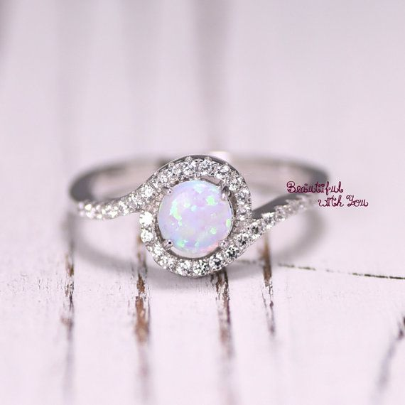 Silver Lab Opal Ring White Opal Ring Opal by BeautifulWithYou