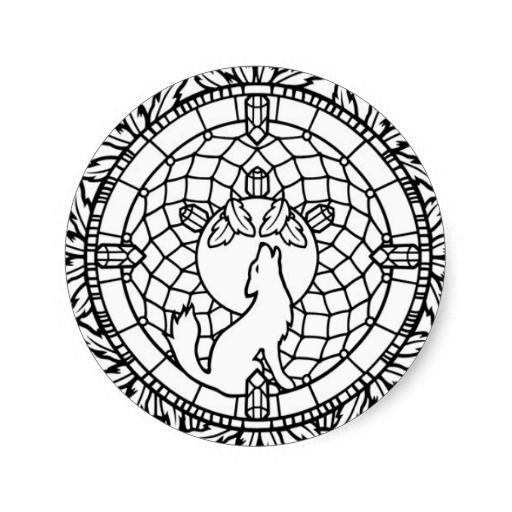 Dream Catcher Wolf Design Classic Round Sticker Zazzle